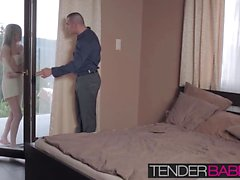 Pretty Gina Gerson knocked on his door wearing only a towel