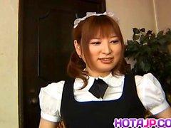 Runna Sakai naughty Asian waitress gets legs spread for