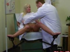 Amazing blonde teen visits her funny doctor