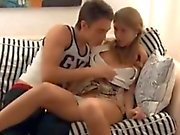 Russian teen play at home.