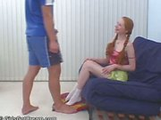 Red headed teen gets a jizz enema