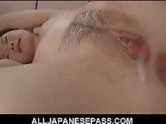 Asian eats her own creampie after a hard fuck