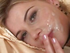 Anal and threesome facial for hot blonde babe