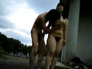 Fucking a fat hairy wife outdoors