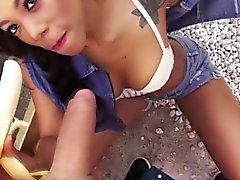 Stranded tattooed ebony teen receives facial