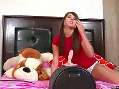 Teenage Girl Gets on Her Machine and Rides