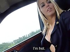 Christine Courtney gets pussy fucked at the back of the car