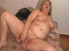 Horny Fat BBW Blonde masturbating her pussy after work