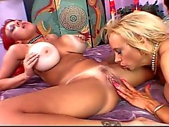 Gigantic tits granny sizzling lesbian pussy toying with hot bitch