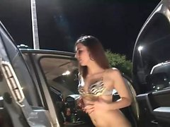 Smoking hot babes have fun in the car