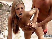 Skinny teen blonde girl Anjelica deeply fucked outdoors