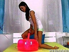 Czech teen squirts piss