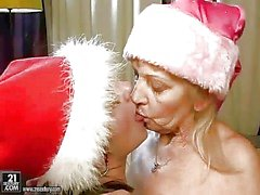 granny and young beauty enjoying hot sex