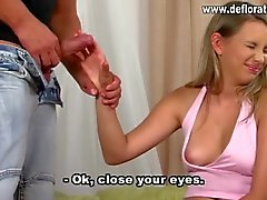 Adorable teen in braces gives a handjob