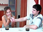 Russian milf with pantyhose fucking young guy