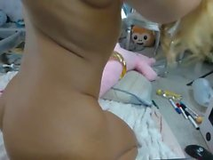 Young blond fucking pussy and ass with dildo vibrator