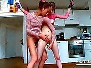 Natasha Shy stuffing a tube in Beatas skinny bald snatch