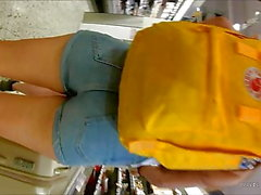 Norwegian Teen tight denim shorts