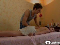 Slutty teen girl gets a happy massage