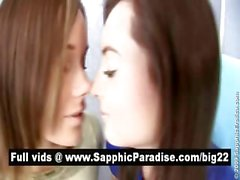 Amazing brunette lesbos kissing and having lesbo love