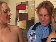 Two gorgeous girl fucking a policeman