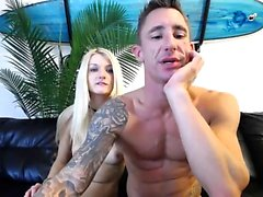 Blonde fetish teen plays with warm pee and tastes it
