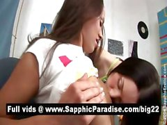 Adorable brunette lesbians kissing and licking pussy and having lesbian sex