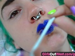 Girls Out West - Crazy hairy lesbian finger fucking n squirting
