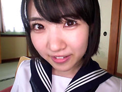 Horny Japanese teen in school uniform sucks cock