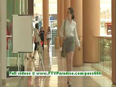 Isobel naughty brunette woman public flashing tits and ass