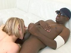 Tight pussy young blonde white girl calls up a black friend for hard fucking