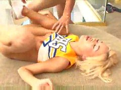 Cheerleader selling chocolate and taking creampie