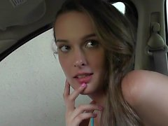 Very cute Vanessa gets fucked in the car