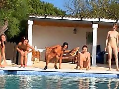 Six naked girls by the swimmingpool from Russia