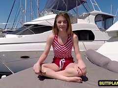 Brunette teen outdoor with facial