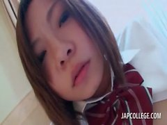 Asian schoolgirl gets nipples and pussy teased in POV