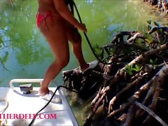 Tiny Asian Thai Heather Deep goes fishing and plays hide the hotdog
