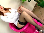 Slut in Leggings Jerk Sex toy With Her Feet