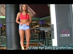 Skimpy teen flashes in the gym