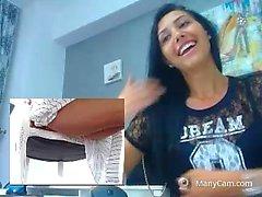 Upskirt on Webcam Columbian Teen