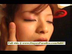 Japanese model in uniform does blowjob