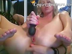 Smoking blond Gets gets herself off Pussy & Anal
