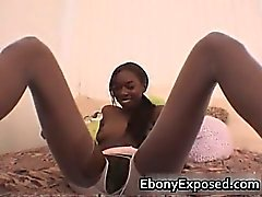 Ebony gf fucked by a huge clear dildo