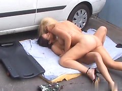 Amber Rayne and Heidi Mayne are at the repair garages...