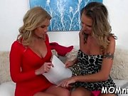 Hot milf makes her appealing girlfriend moan to big o