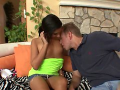 Naughty brunette with small tits seduces her boss to fuck...