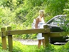Cute young german blonde fucked in the woods