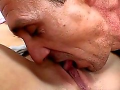 Horny old man loves licking a cute