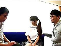 Threesome For Japanese Schoolgirl