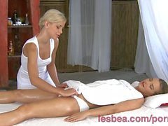 Lesbea HD Cute blonde teen rubs her oiled body and pussy on massage client